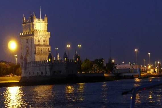 View of Belém Tower from Sailboat Pypas, Lisboa, Portugal